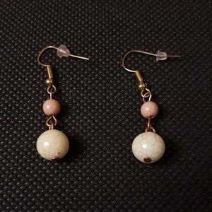 Dusty rose-gold bead dangle earrings